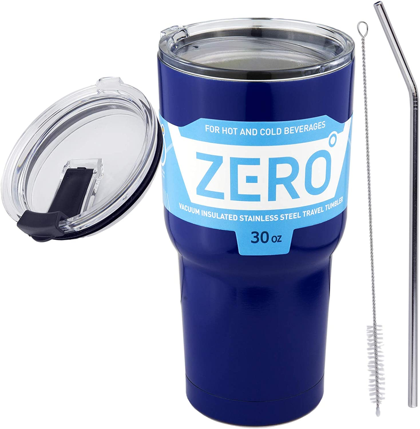 30 oz Stainless Steel Tumbler with Lid, Double Wall Vacuum Insulated Travel Mug for Hot and Cold Drink by Zero Degree (30oz Bundle Blue)