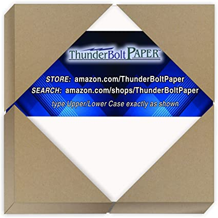 4 X 4 inches Small Square Card Size Point Caliper White Coated on One Side Cardboard by Thunderbolt Paper 50 Sheets Chipboard 50pt White 1 Side Medium Thick Weight PaperBoard .050