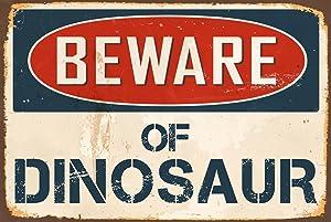 """StickerPirate Beware of Dinosaur 8"""" x 12"""" Vintage Aluminum Retro Metal Sign VS467"""