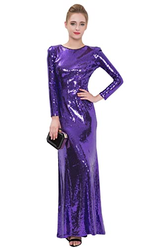 Beautifly Women's Long Sleeves Golden Sequins Maxi Evening Dress