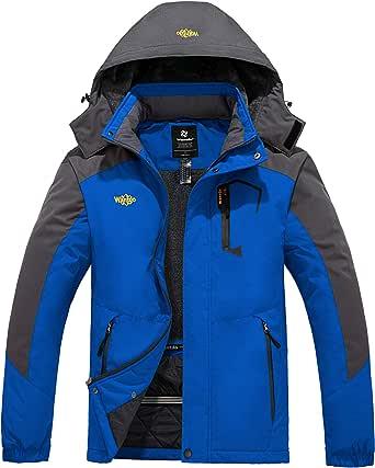Wantdo Chaqueta de Esquí de Montaña para Hombre Abrigo de Invierno Impermeable con Capucha Cazadora de Snowboard Cálida Chaqueta al Aire Libre Antiviento Hombres