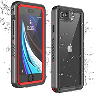 Temdan iPhone SE 2020 Case iPhone 8 Case iPhone 7 Case Waterproof,Clear Sound Quality Built-in Screen Protector Heavy Duty IP68 Waterproof Shockproof case for iPhone SE (2020)/8/7 4.7 inch-Red/Clear