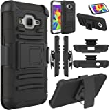 Galaxy Core Prime Case, EC™ Galaxy Prevail LTE Case, Hybrid Armor Dual Layer Full Body Protective Holster Case with Kickstand + Belt Swivel Clip for Samsung Galaxy Core Prime (Black+Black)