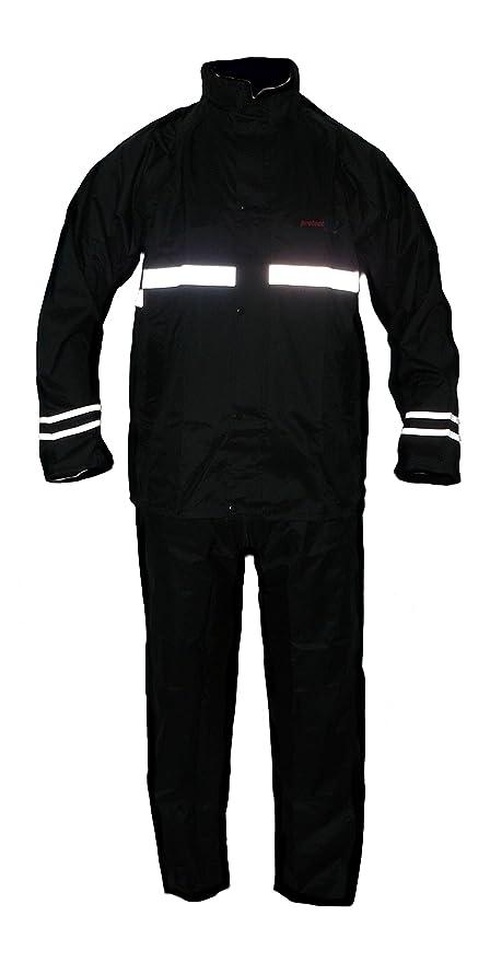 Protectwear Gabardina de motocicleta, traje de lluvia,impermeable, 2 piezas, negro RK Tamaño XL