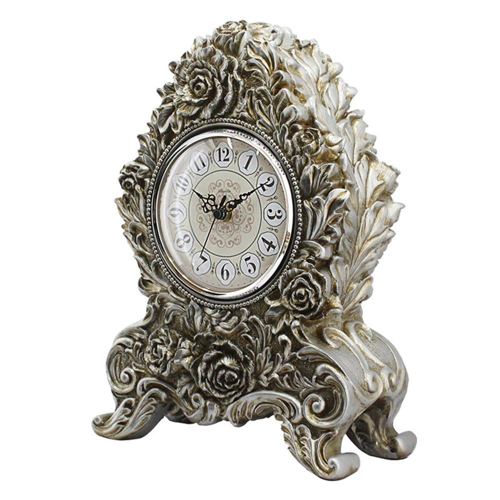 HENSE Retro Vintage European Style Decorative Grandfather Clock Polyresin Modern Mantel Shelf Tabletop Desk Quartz Clocks HD18 (Golden)