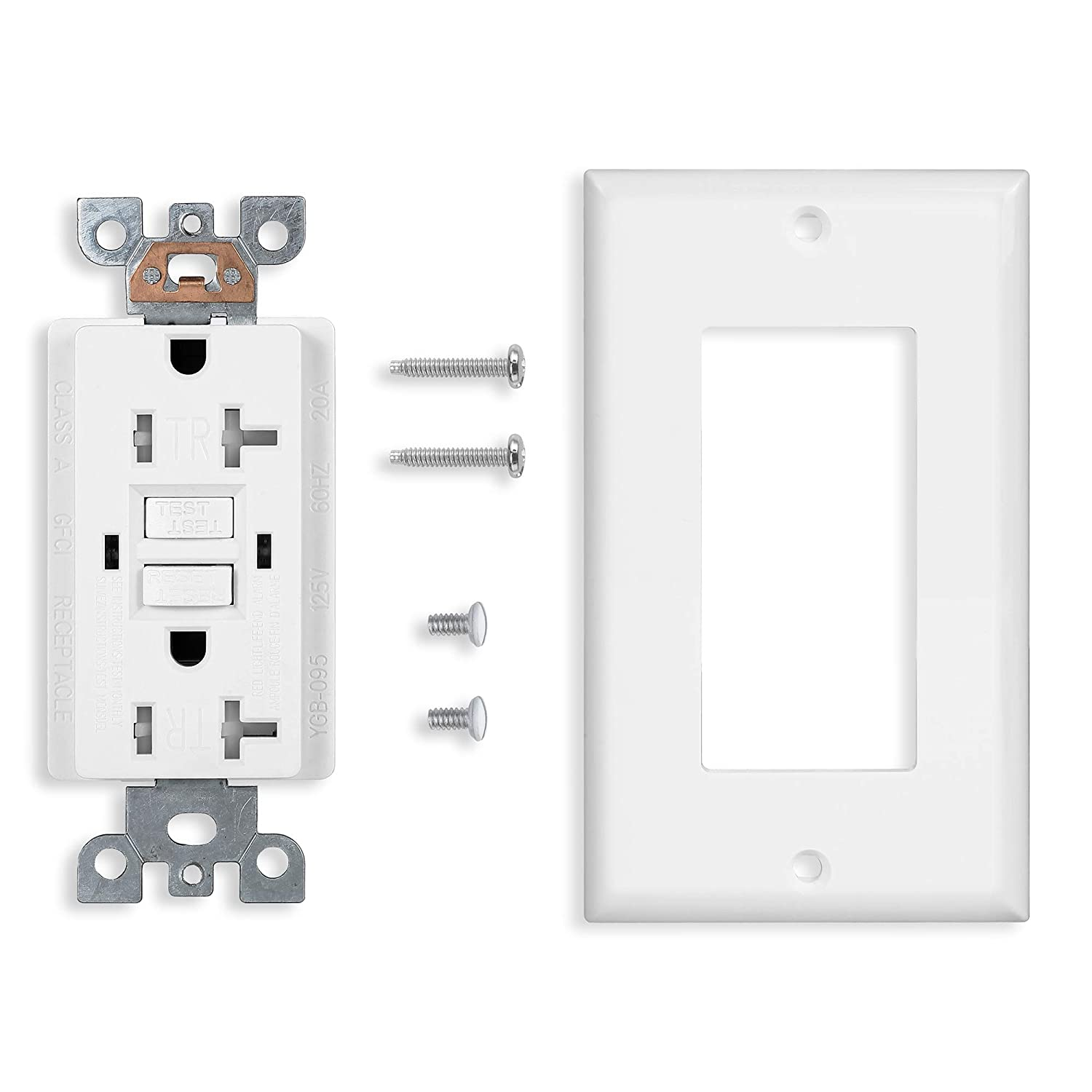 cUL Listed GFCI Duplex Outlet Receptacle Tamper Resistant 20-Amp//125-Volt 1 Pack Self-Test Function with LED Indicator White UL Listed Wall Plate and Screws Included