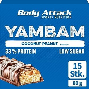 Body Attack YAMBAM, Coconut Peanut, 15 x 80g, mezcla de barras de proteína con 33% de proteína, barra de fitness sin sustituto de azúcar y sin ...