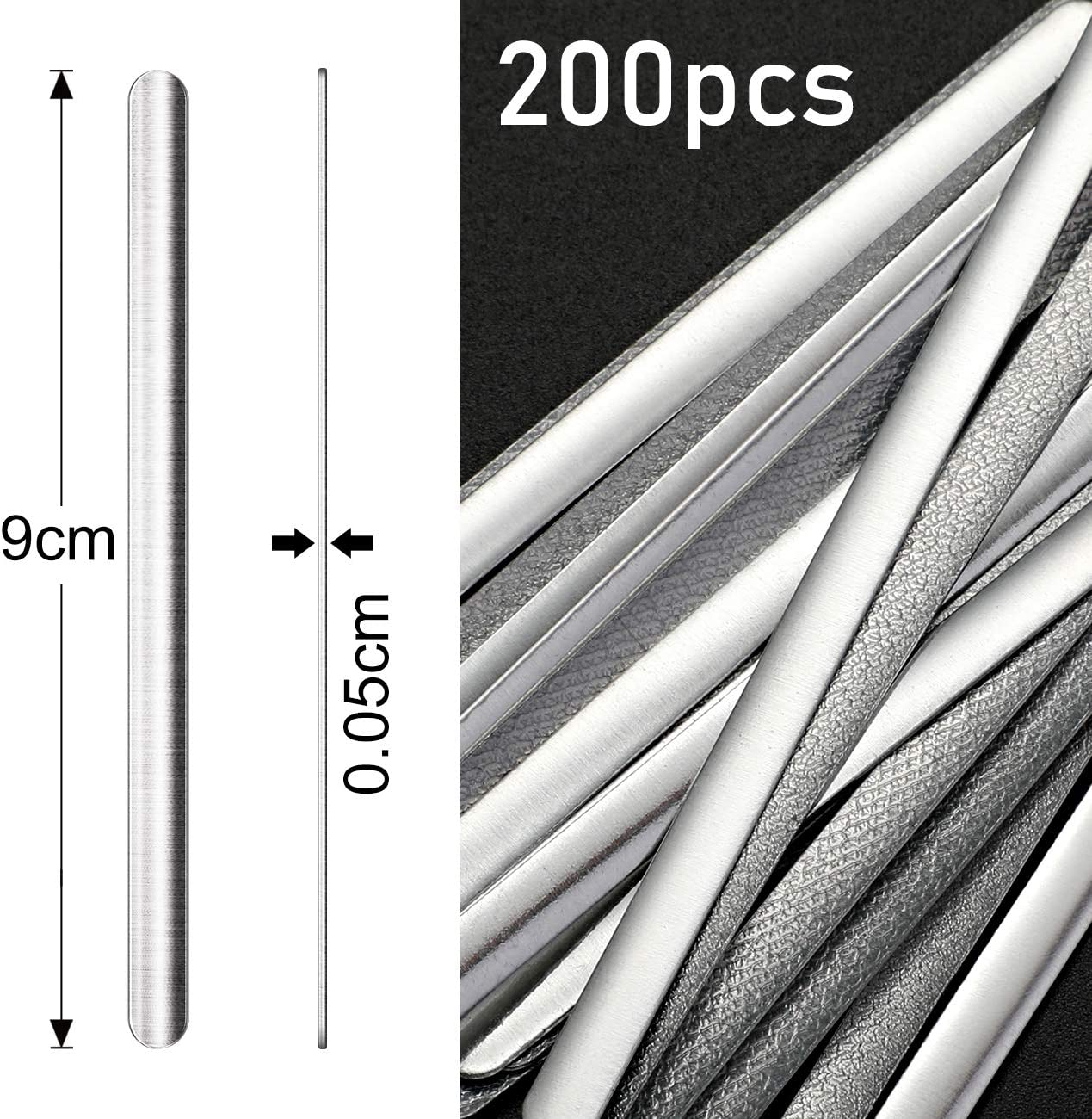 90 mm x 5 mm, 200 Pieces Homealexa Aluminum Strips for Nasal Bridge 200 Pieces Metal Nose Support Without Adhesives DIY Accessories