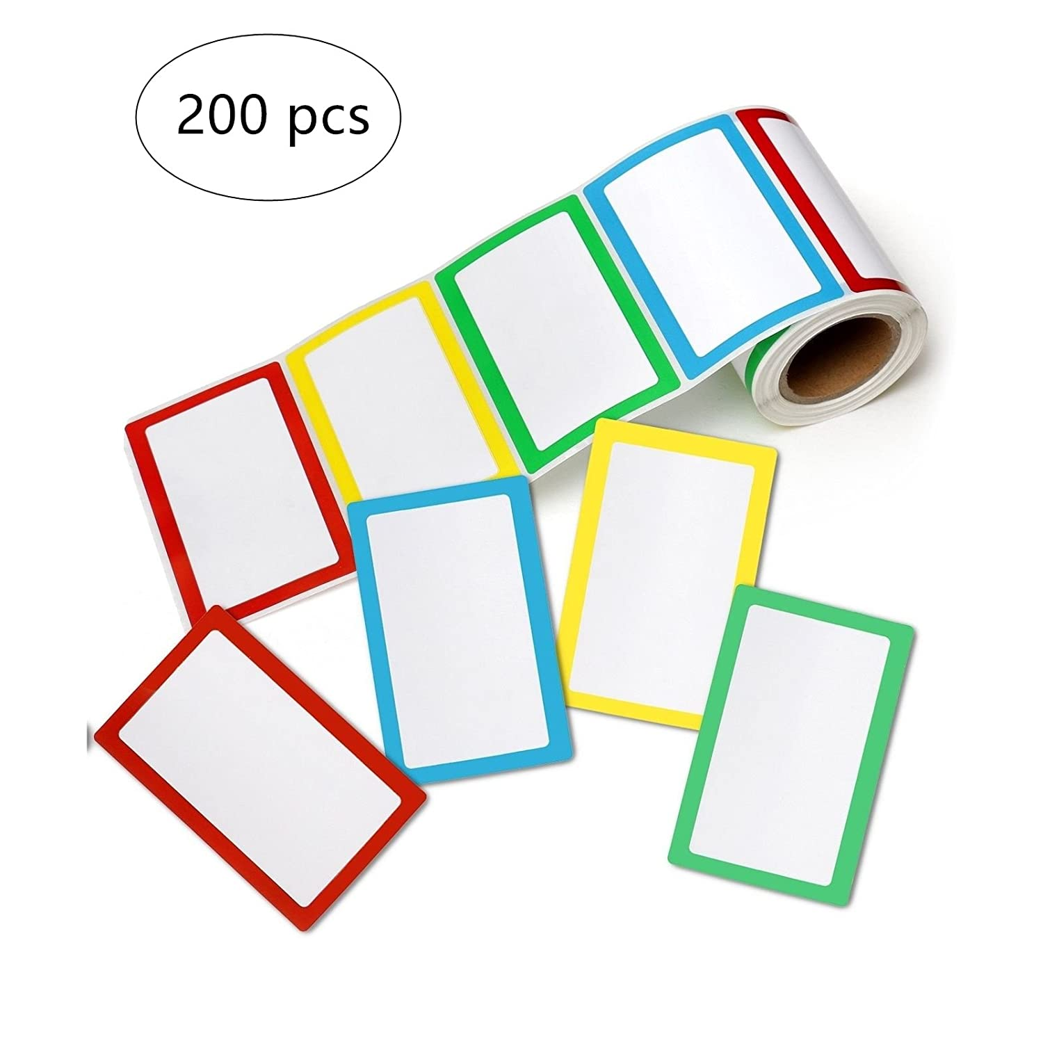 3.5 x 2.25 Hybsk 200pcs Plain Name Tag Labels Colorful Border Name Tag Stickers 4 Colors
