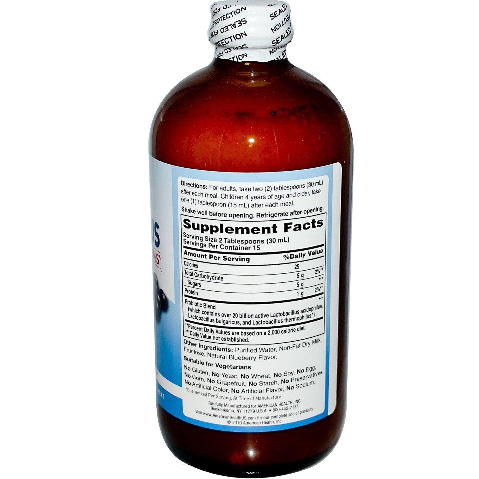 American Health, Acidophilus Liquid, Blueberry, 16 oz