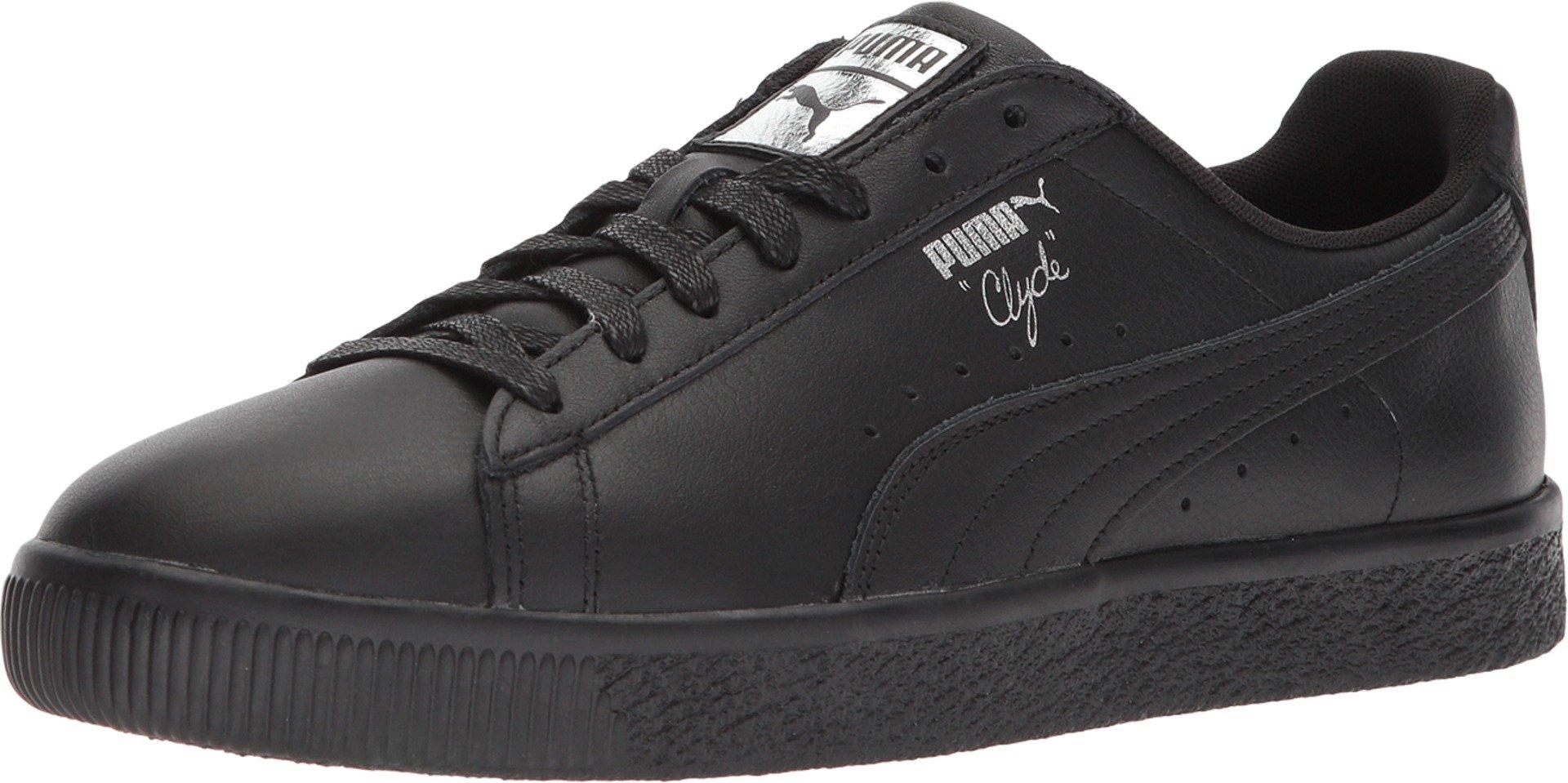 timeless design f1ec4 2b5ff Puma 364669-06: Men's Clyde Black/Silver Leather Vulcanized Sneakers (12  D(M) US Men)