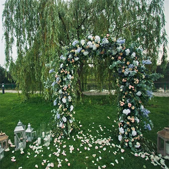 Wedding Ceremony Backdrop 6x8ft Wood Wedding Arch Polyester Photography Background Blooming White Flowers Lanterns Greenery Spring Scenic Lovers Couple Birthday Portraits Shoot Studio Decor