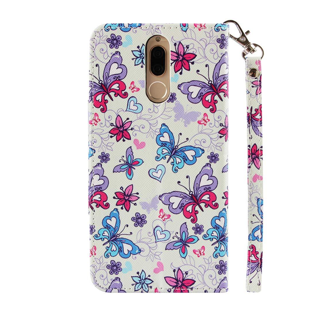 Lyzwn Coque Huawei Mate 10 Lite//Huawei Nova 2i Housse en Cuir PU Flip Coque Etui Wallet Case avec Support Cartes Slots Fermeture Aimant/ée pour Huawei Mate 10 Lite//Huawei Nova 2i Motif