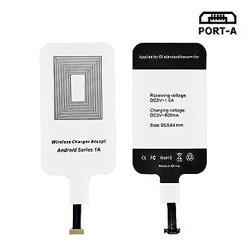 LEAPCOVER® Universal Alta Calidad QI Cargador Inalámbrico Receptor La Carga Rápida para Android Micro-USB Teléfono Inteligente (Wide interfaz Down)
