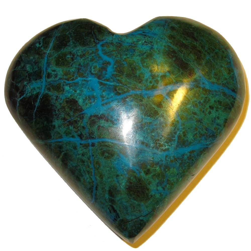 Chrysocolla Heart 05 Big Plump Natural Peruvian Turquoise Crystal True Love Anniversary Valentines 3.2''