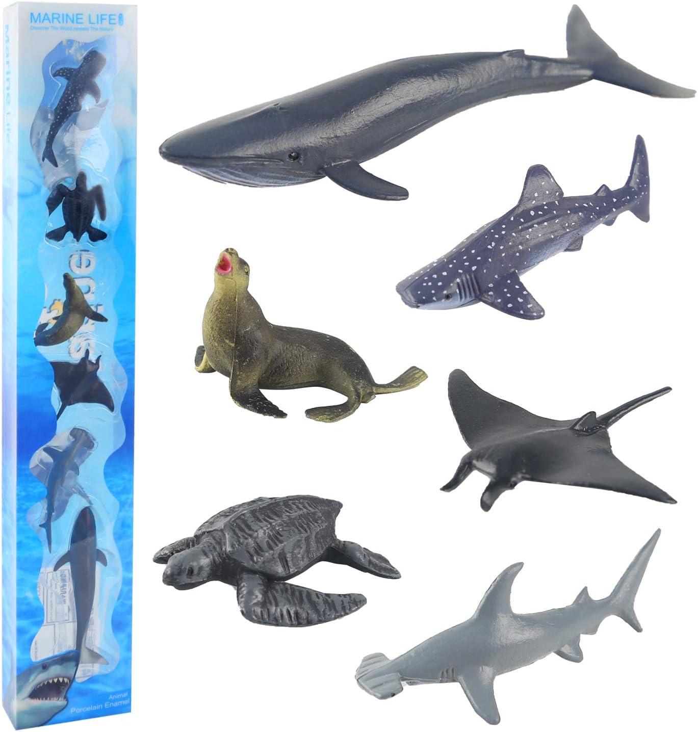 Animales de Juguete Jugar en el Baño Figura Tortuga Gigante Ballena Azul Tiburón Ballena Educativa Relago para niños pequeños Adorno de Tarta