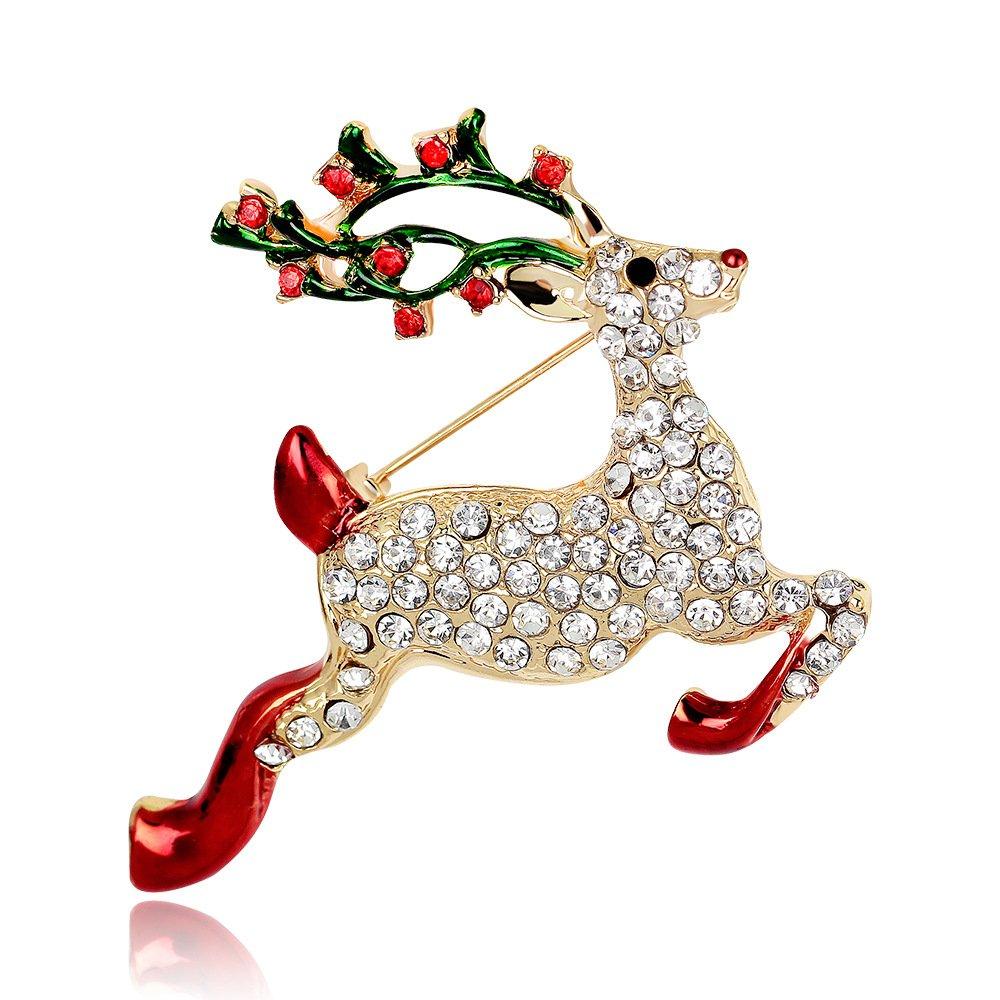 Stockton Brosche Eleagant Mode Weihnachten Hirsch Design Brosche für Hochzeit Legierung Strass Schal Clip Liebhaber Geschenk