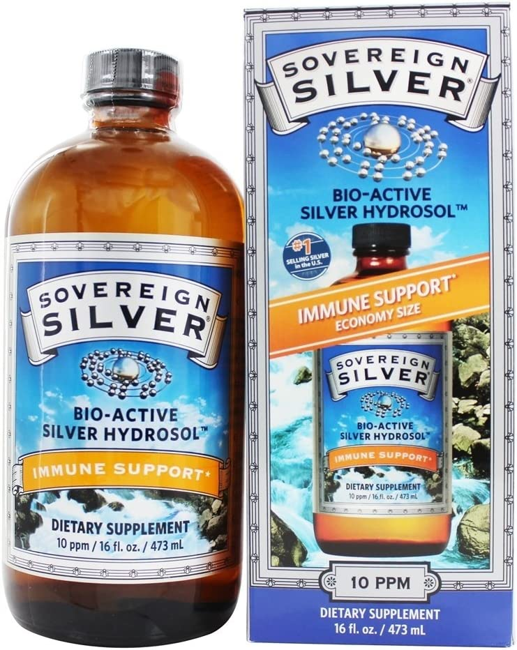 Bio-Active Silver Hydrosol No Dropper Bottle, 10 ppm - 16 fl. oz (473 ml) by Sov