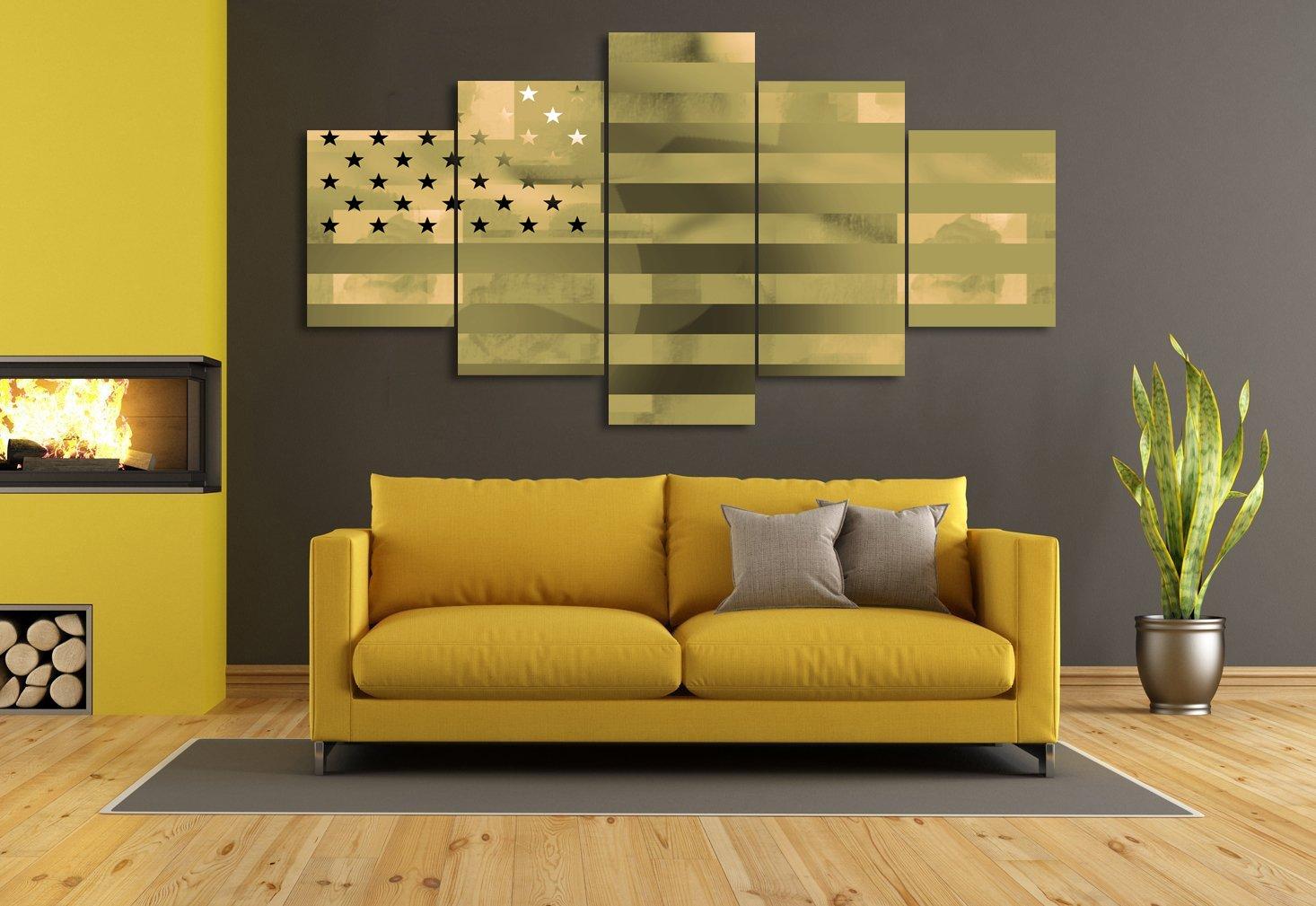 Amazon.com: Painting on Canvas Wall Art 5 Piece Patriotic Concept ...