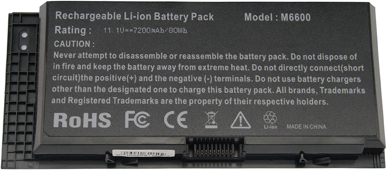 M6700 M6600 KJ321 Replacement Battery for Dell Precision M4800 M6800 Series Fits FV993 FJJ4W PG6RC V7M28 Laptop