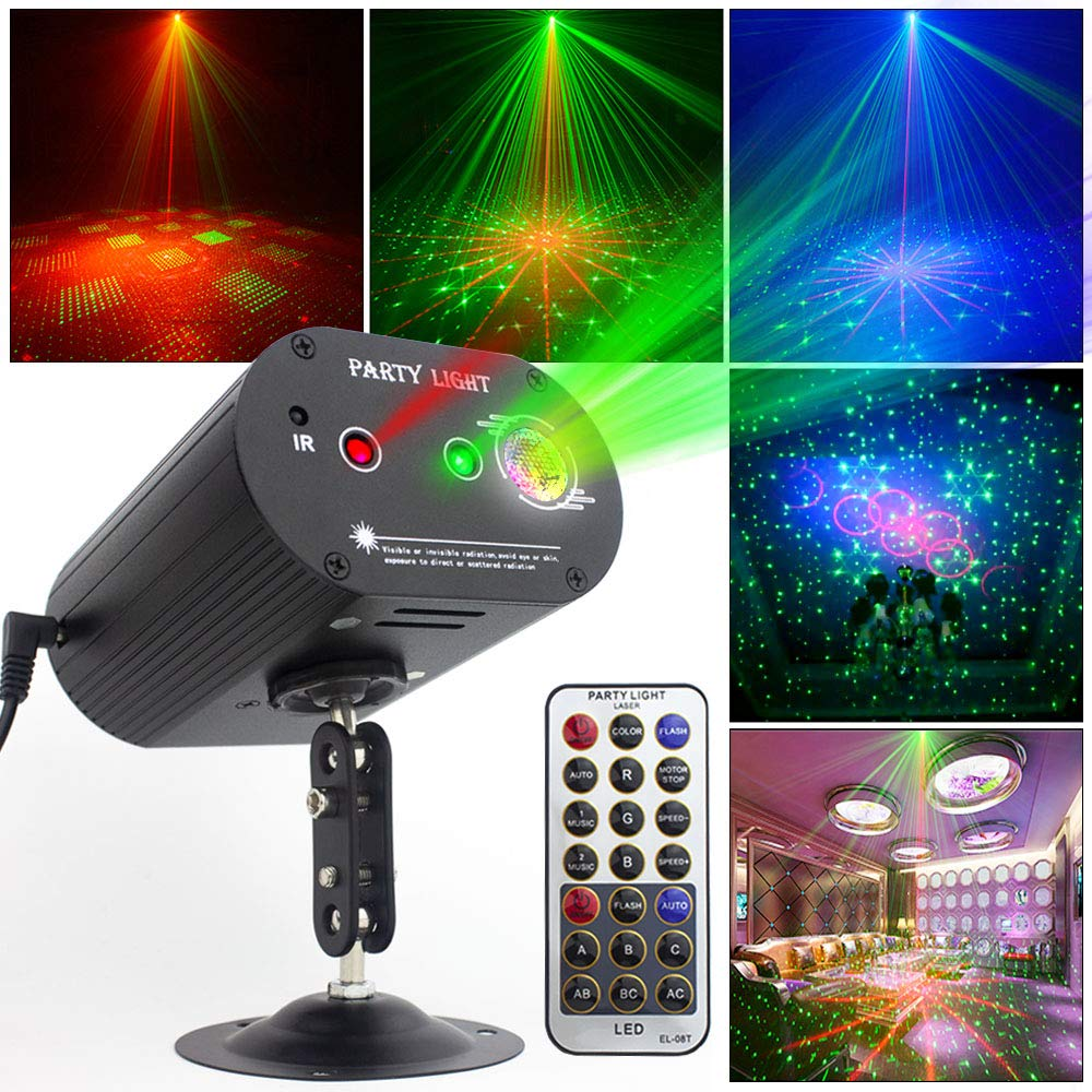 Party Lights DJ Disco Light RGB 3 Lens 36 Patterns Projector GOOLIGHT Mini LED Strobe Sound Activated Stage Lights Indoor for Birthday Parties Wedding Karaoke KTV Bar Christmas Halloween Decorations by SPOOBOOLA