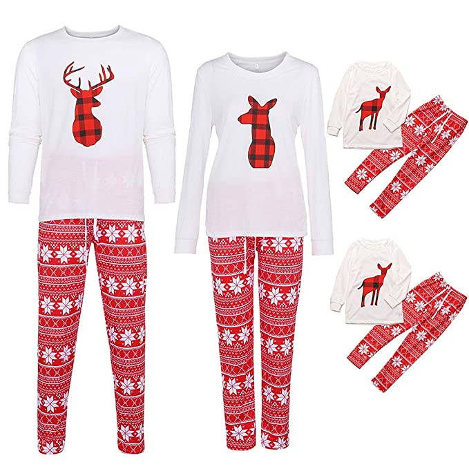 9686ca77c2 Family Matching Pajamas Set Elf Pattern White T-Shirt and Long Pants for Dad  Mom