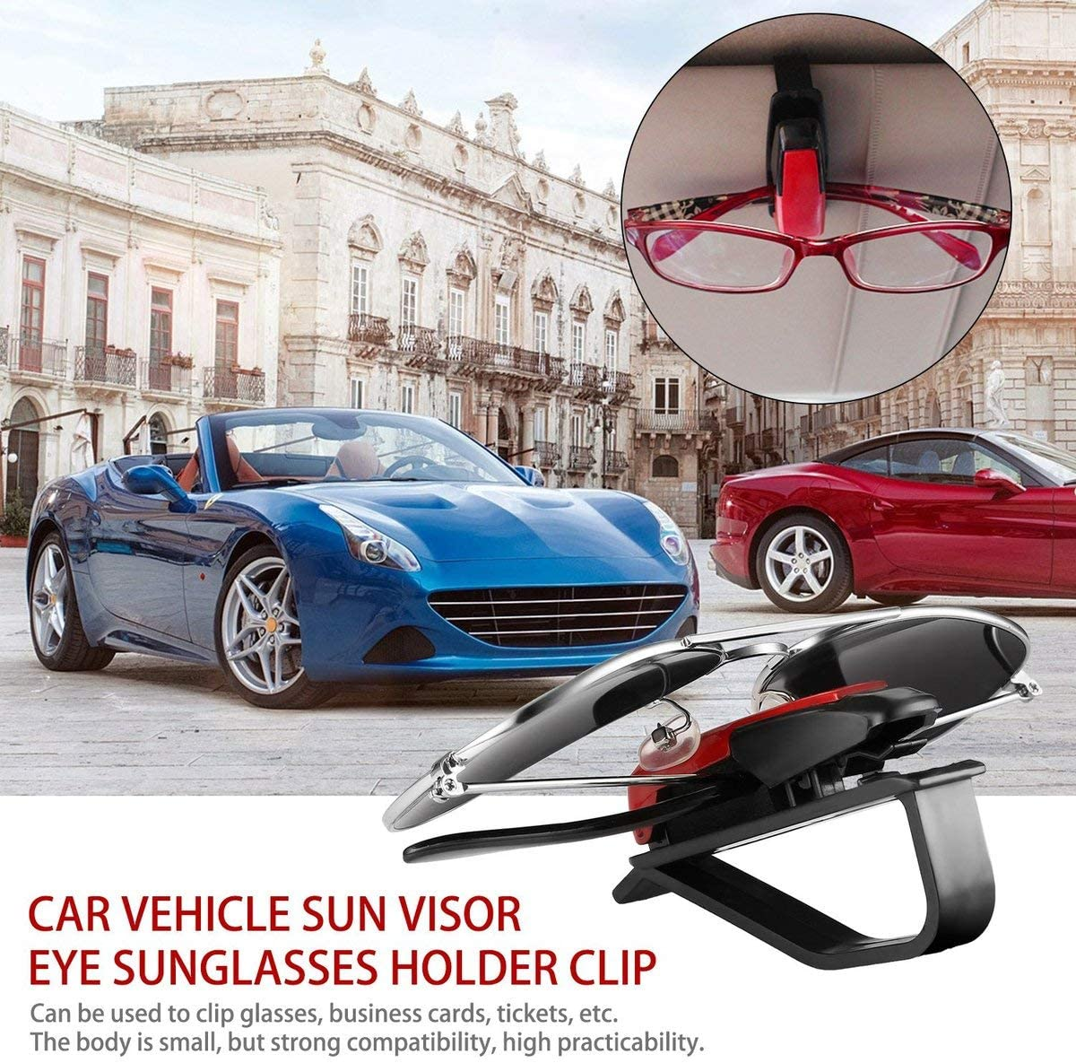 Greatangle ABS Coche Veh/ículo Visera Solar Gafas de Sol Anteojos Titular de Gafas Tarjeta Ticket Pluma Clip Accesorios automotrices