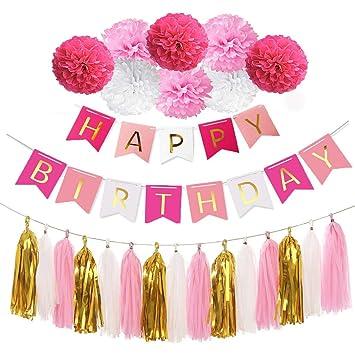 REYOK Rosa Decoraciones Cumpleaños Nina, Globos Rosa Fucsia ...
