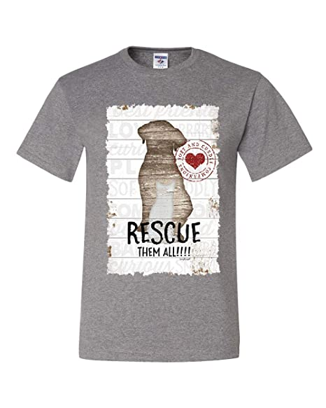 2569adc89d8e Amazon.com: Rescue Them All T-Shirt Pet Dog Cat Shelter Animal Rescue Paw Tee  Shirt: Clothing