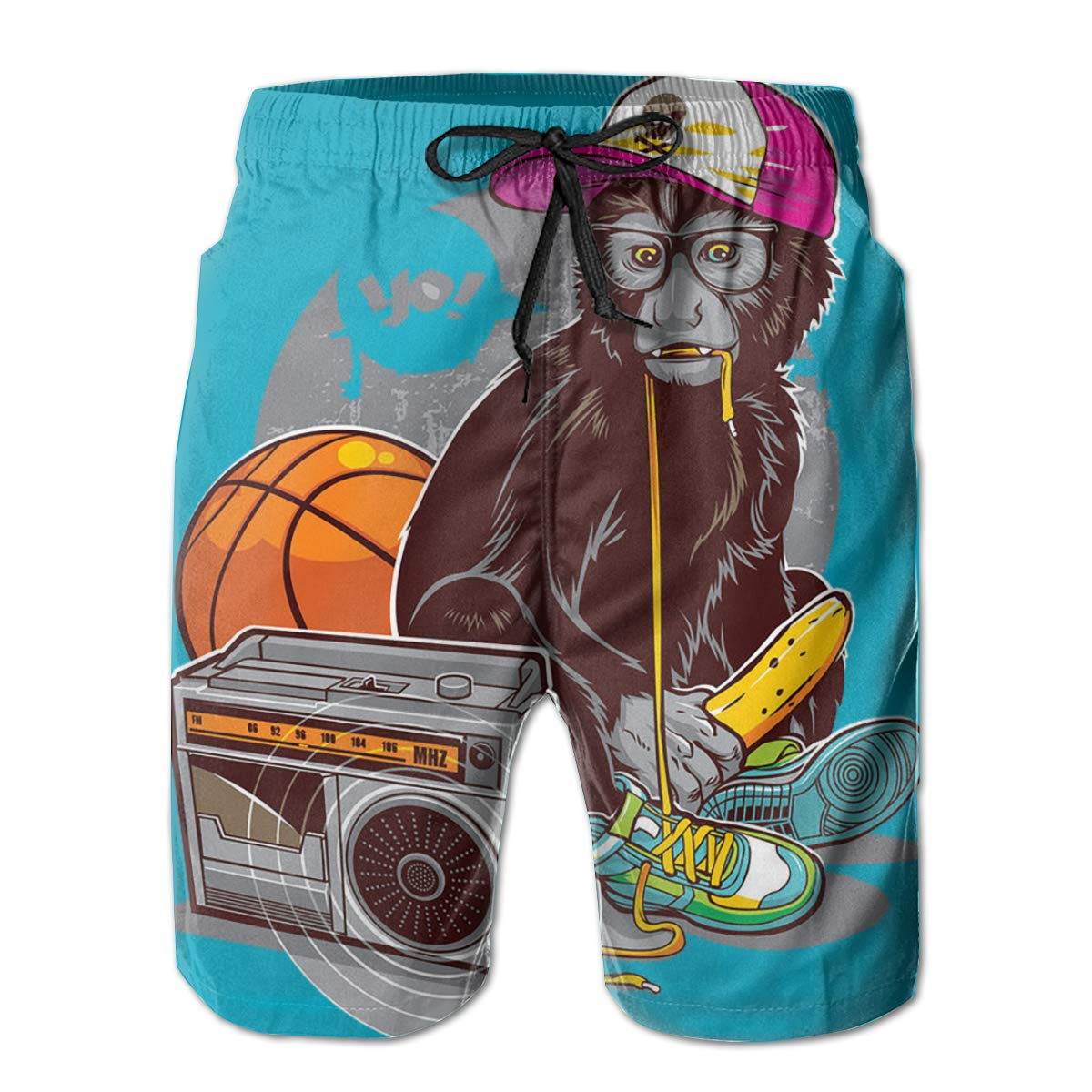 Suitable for Surfing Music Monkey Mens Swimming Pants Hateone Beach Shorts Swimming and Other Marine Sports