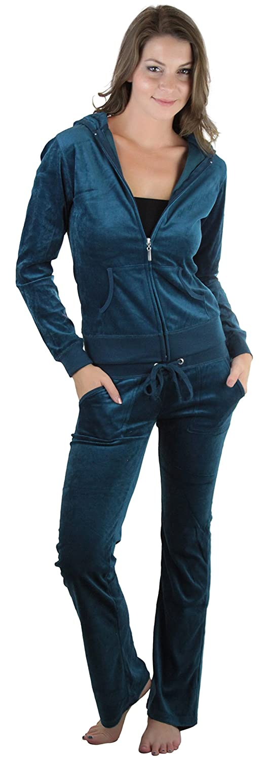 ToBeInStyle Women's Velour Tracksuit Zip-Up Hooded Jacket and Matching Pants Teal) 20eb1l0h_x_t_kta