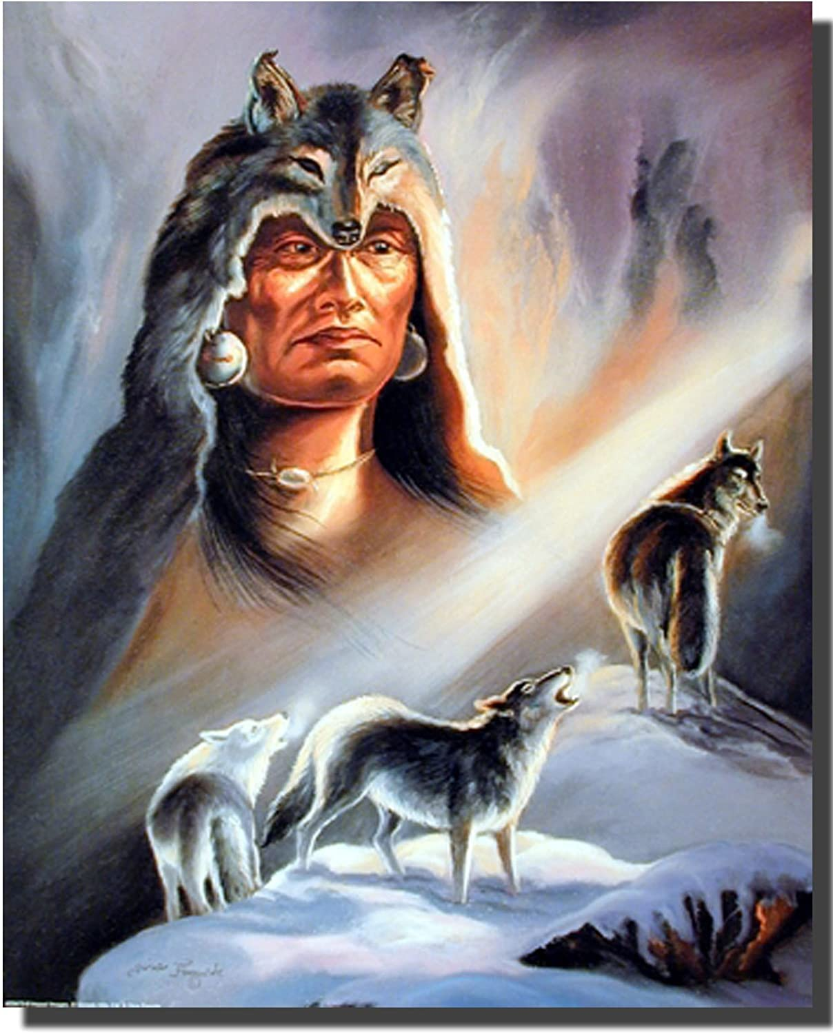 Native American Indian Wolf Spirit of Strength Wall Decor Art Framed Picture