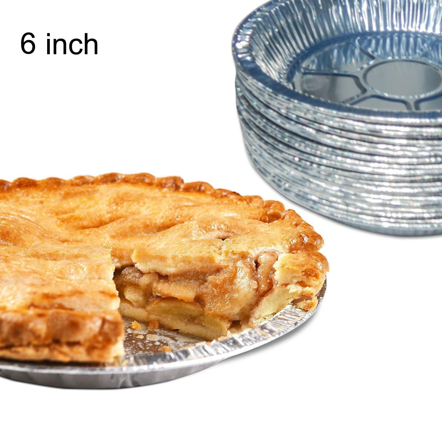 Premium 6 Aluminum Foil Pie Pans 50pcs/Set. Disposable Tin Plates for Pies Tart Quiche Kootips-1-4227