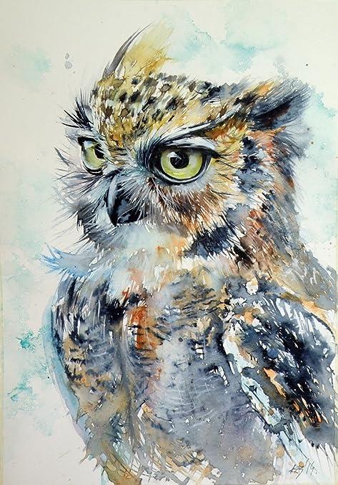 owl wall art Eagle Owl Art Print owl art owl decor animal print animal art owl drawing owl print owl prints by Naterade Creates