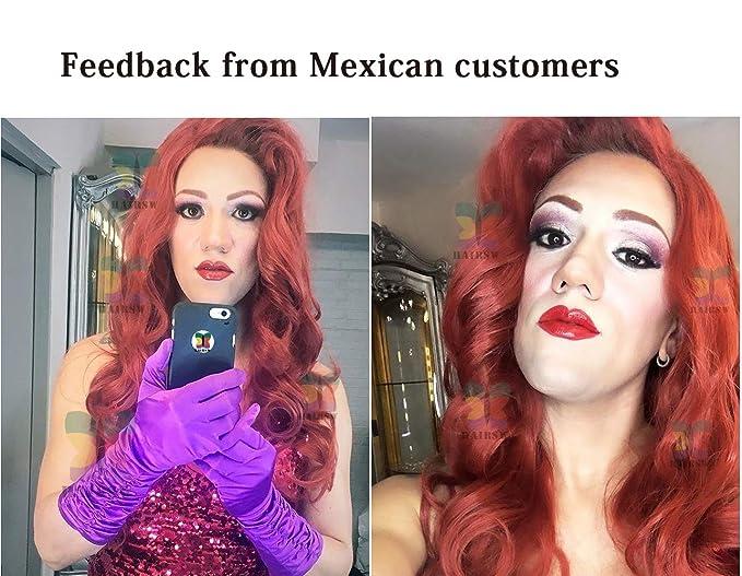 Jessica - Peluca de pelo sintético, color rojo y rubio: Amazon.es ...