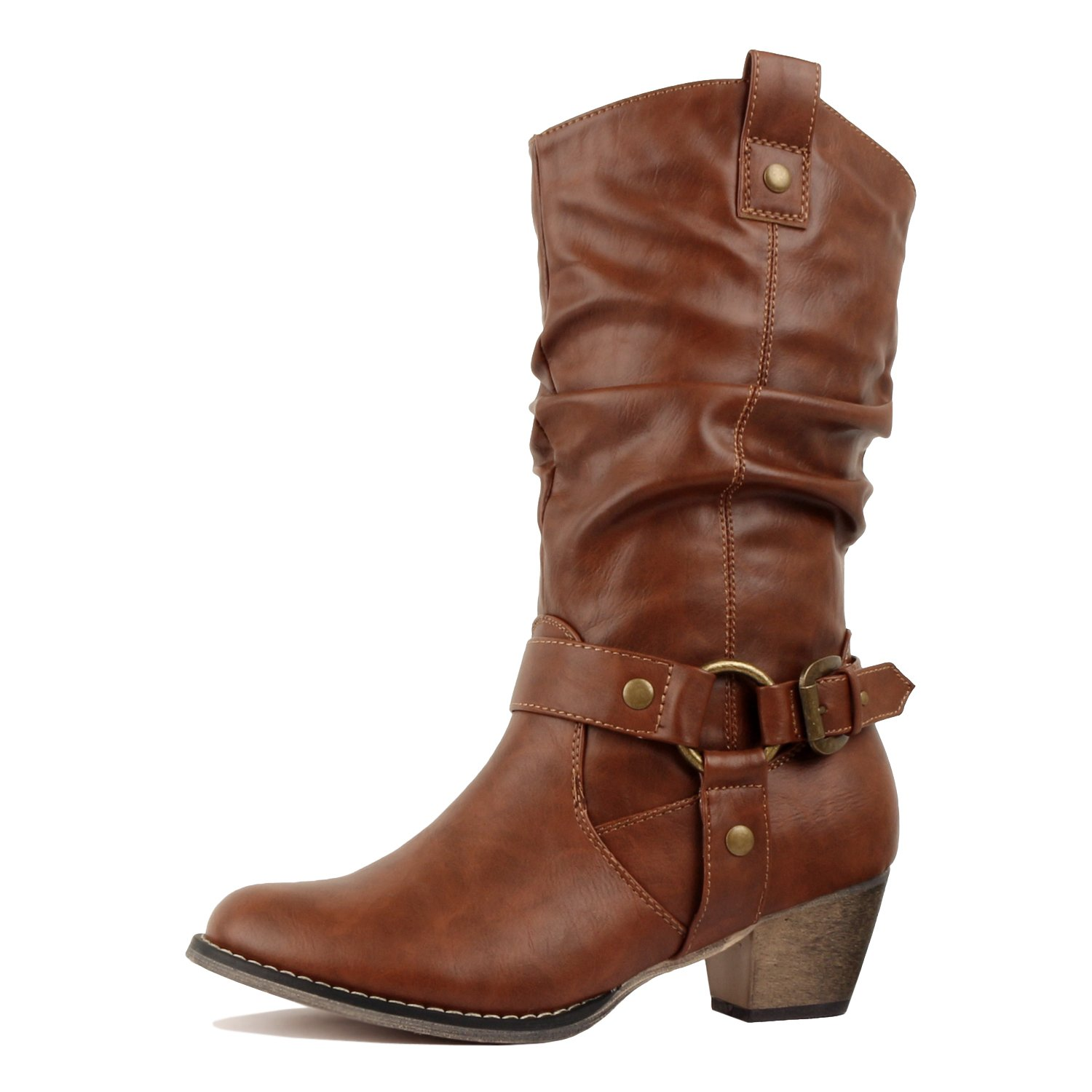 West Blvd - Miami - Cowboy Western Womens Embroidery Stitching Chunky Heel Boots (9 B(M) US, Tan Harness)