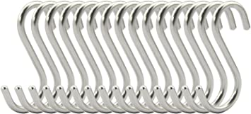 1-15 Hooks Stainless Steel Closet Hanging Kitchen Pot Pan Coat Cloth Hanger Rack