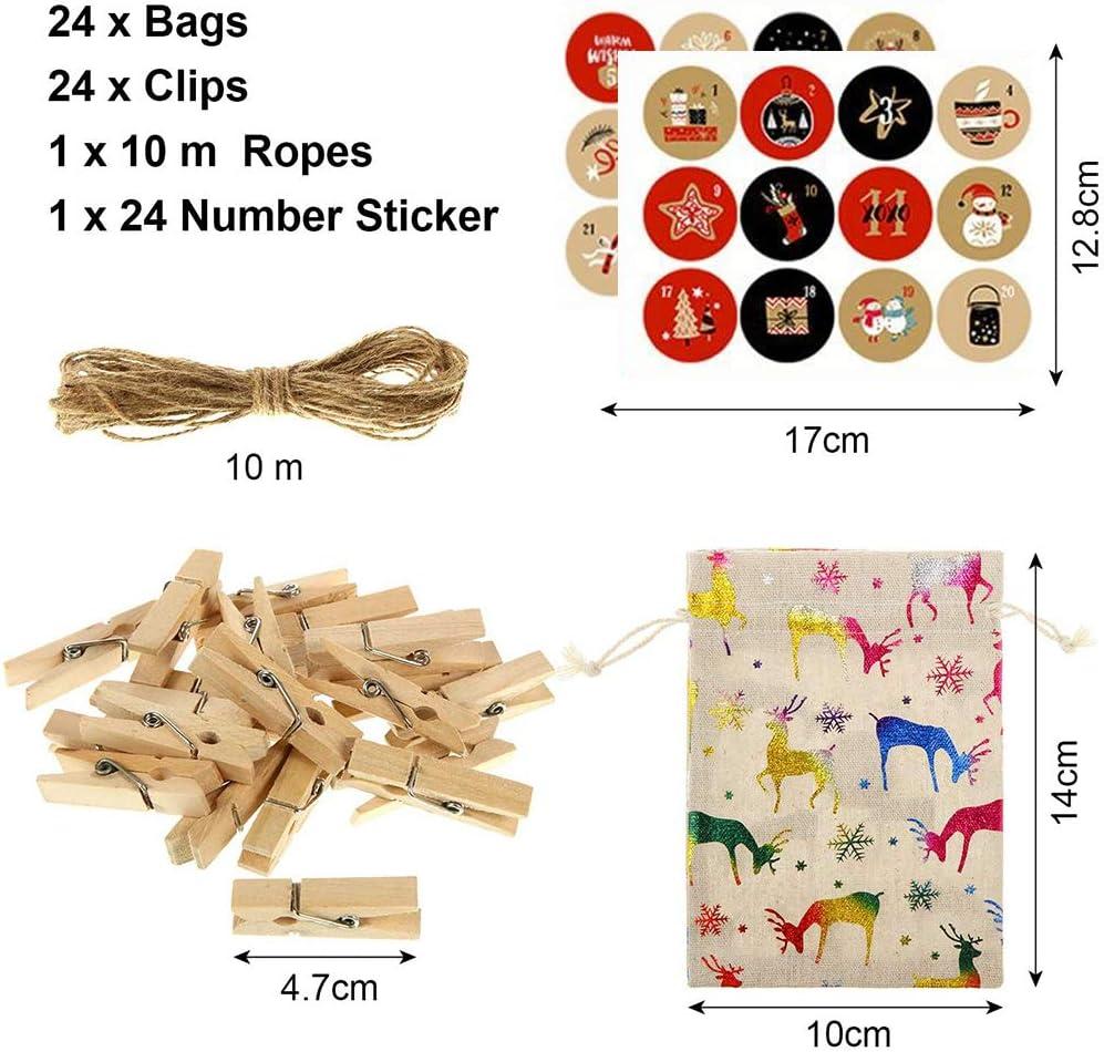 24 abrazaderas de madera 24 pegatinas de calendario de Adviento Yisscen Calendario de Adviento para llenar 24 bolsas de dulces Bolsas de papel de Navidad Bolsas de regalo cord/ón de lino