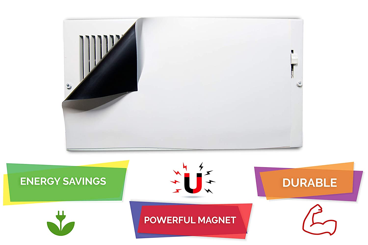 Double Thick To Block Air and Can Be Cut Down To Smaller Size Not For Ceiling Vents High Strength Magnetic Vent Cover For Wall and Floor Air Vents 8.5/'/' x 15/'/' Double Thickness PACK OF 4