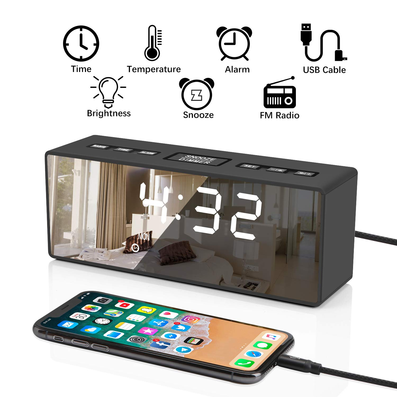 ieGeek Digital Alarm Clock with FM Radio, Bedside Alarm Clocks Mirror HD LED with Time, Date, Week, Temperature Display Function, LED Clock Battery Powered, Four Adjustable Brightness, Dual Alarms,Dual USB Port Charging, Suitable for Bedroom, Office, Trav