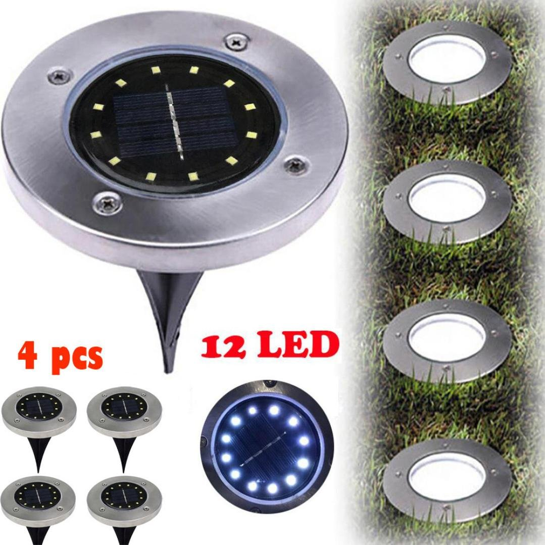 Solar Ground Lamp,NXDA 12 LED Solar Power Buried Light Waterproof Ground Lamp Outdoor Path Way Garden Decking for Yard Driveway Lawn Pathway, Cool White (4 PCS)
