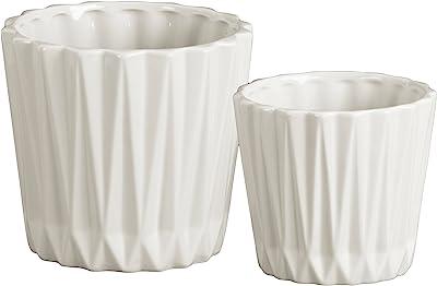 Urban Trends 44221 Ceramic Round Vase with Ribbed Design Body