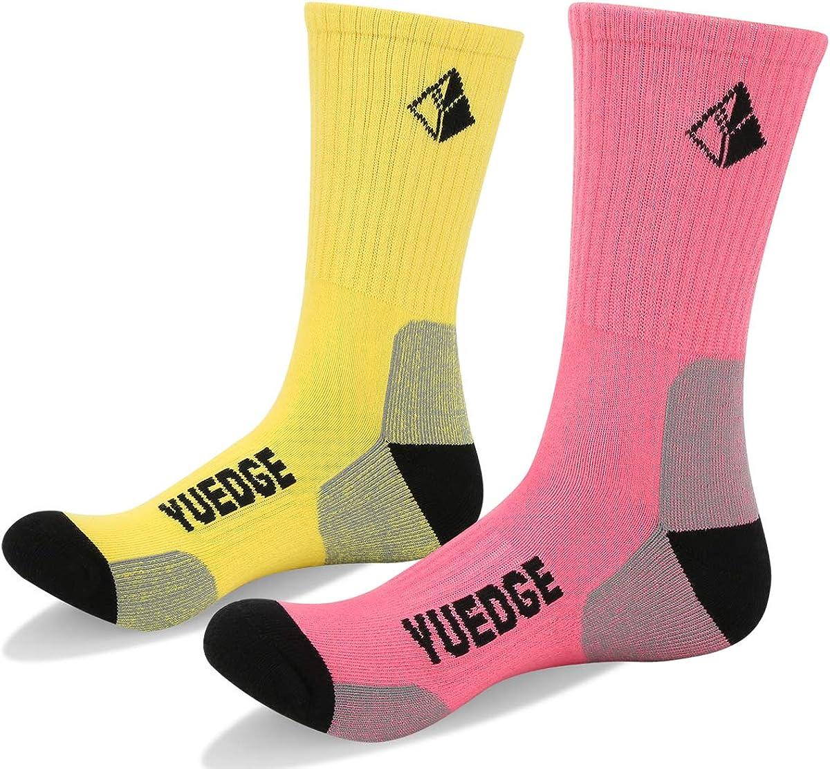 YUEDGE 5 Pairs Womens Multi Performance Cotton Cushion Crew Sports Outdoor Athletic Walking Hiking Socks
