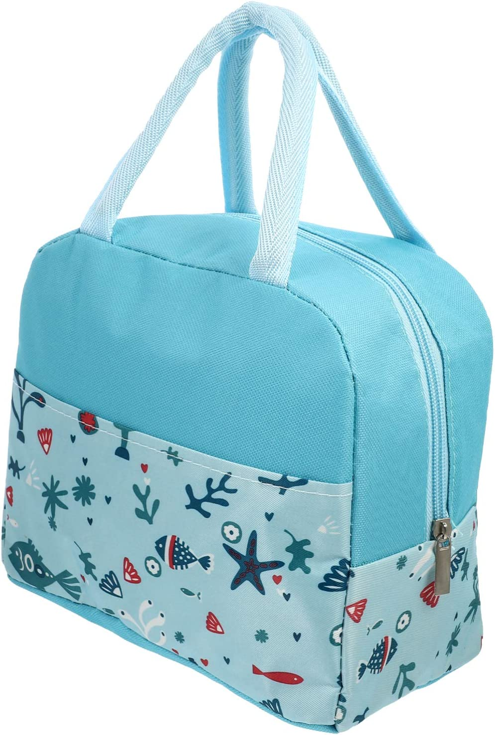 TOYANDONA Insulated Lunch Bags Waterproof Food Tote Bag Foldable Washable Lunch Pouch for Outdoor School Work (Sky- Blue)