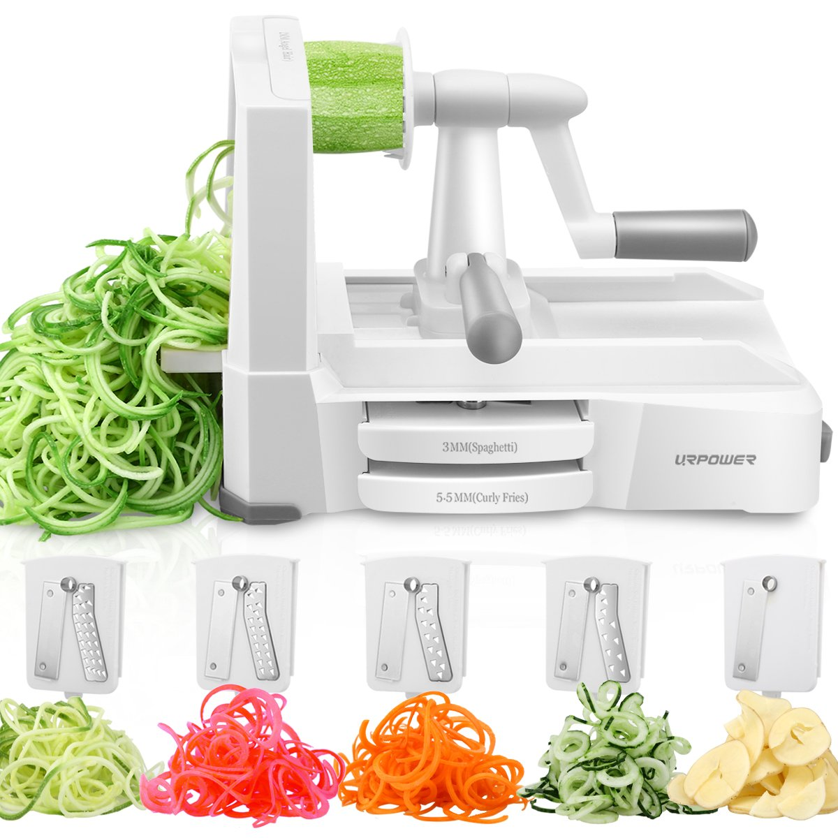 URPOWER Spiralizer Vegetable Slicer 5-Blade Vegetable Spiralizer, Strongest & Heaviest Duty Zoodle Maker, Food Processor, Veggie Pasta, Spaghetti Maker & Julienne Cutter for Low Carb/Paleo/Gluten-Free B435-A