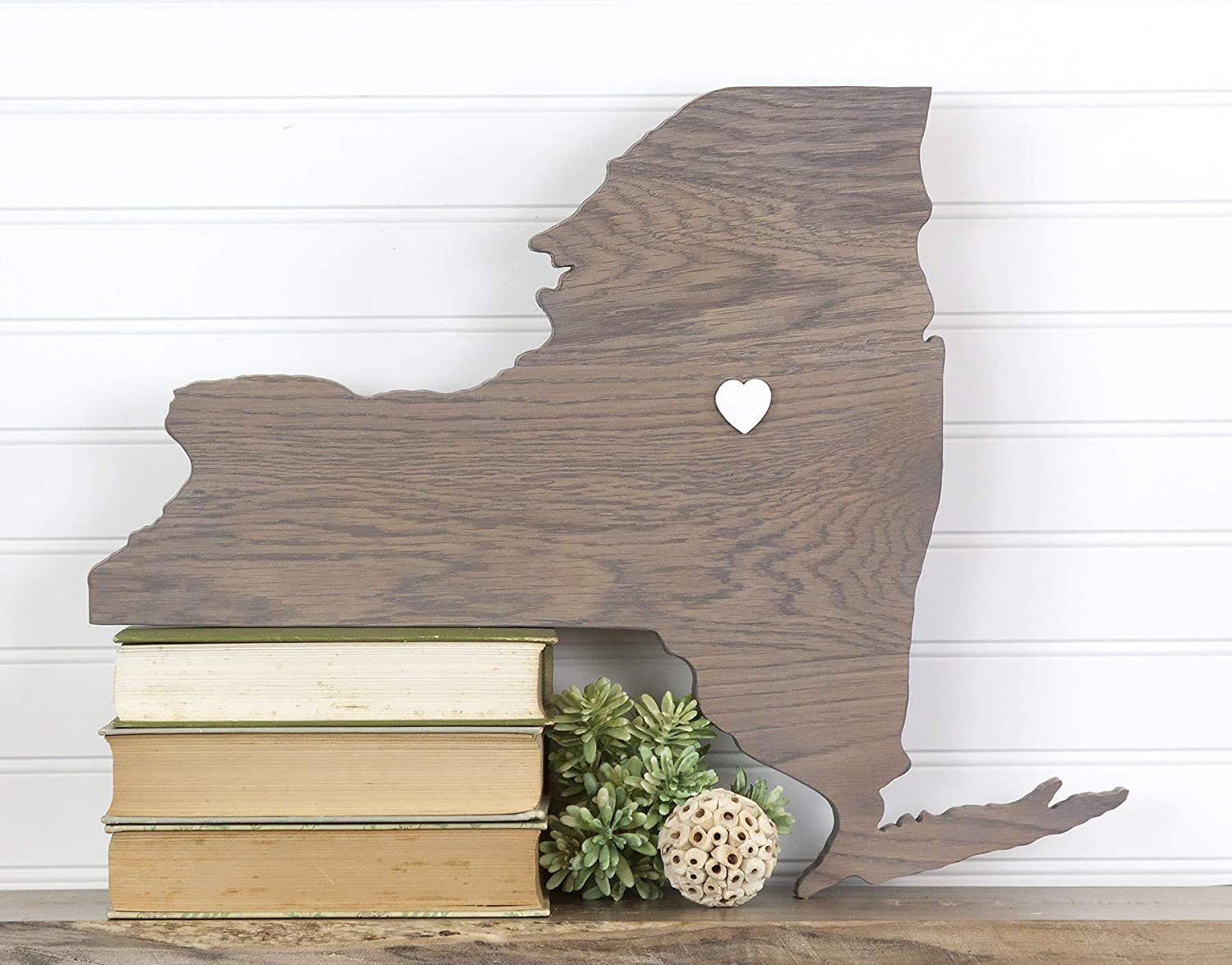 Amazon Com New York State Shape Wood Cutout Sign Custom Handcrafted Wall Art 2 Sizes 7 Stain Colors Choice Of Heart Or Star Handmade