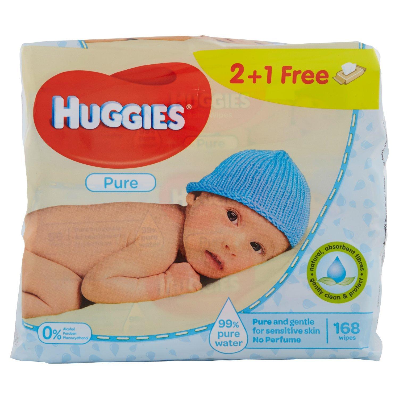 Huggies Pure Toallitas para Bebé - Paquetes de 3 x 56 toallitas - Total: 168 toallitas Kimberly-Clark 02434300