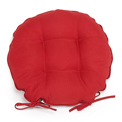 Set Of 2 16 Outdoor Round Bistro Chair Cushions Seat Pads With Ties Red Brick