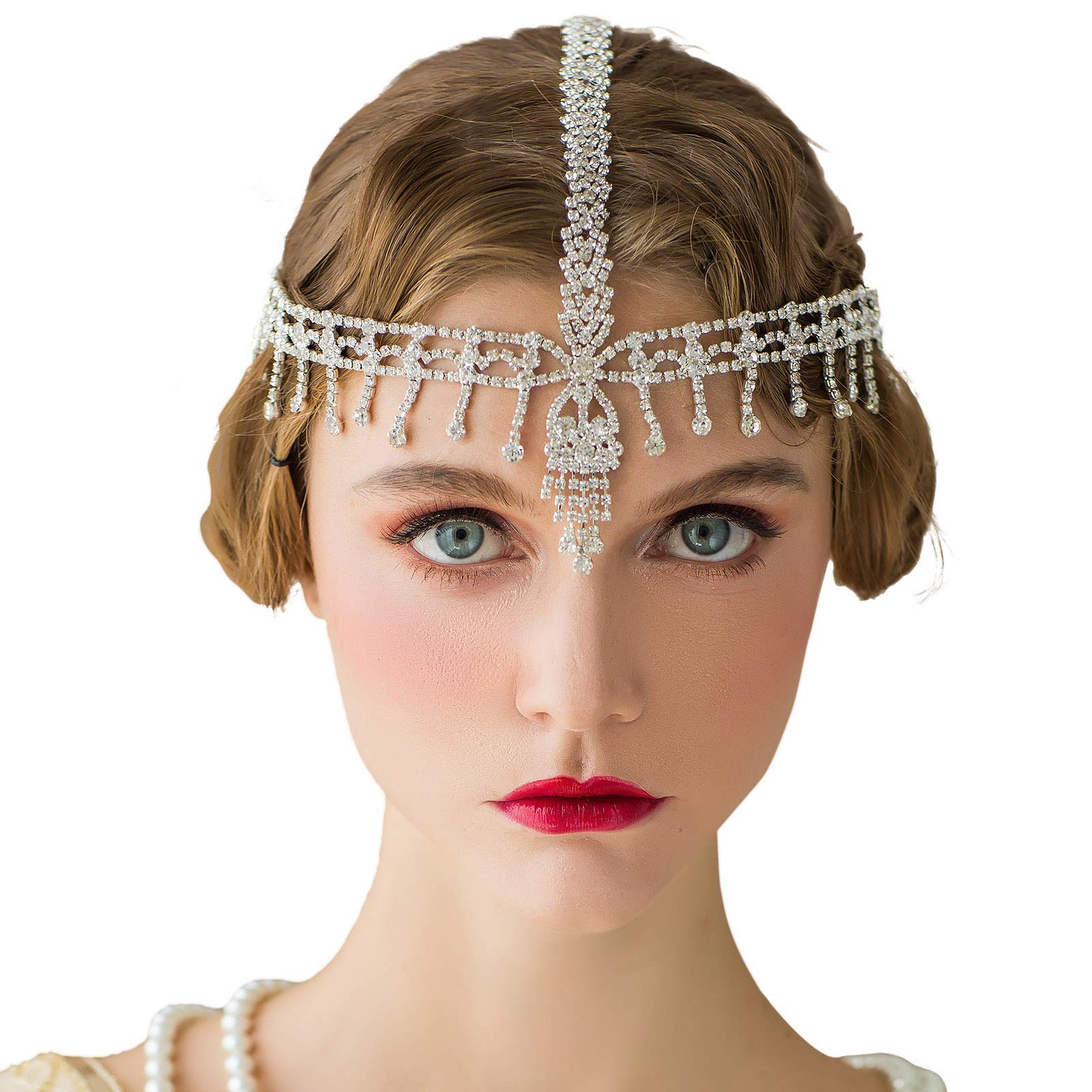 SWEETV The Great Gatsby Headpiece - Rhinestone 1920s Headband Flapper Hair Accessories for Costume Party by SWEETV