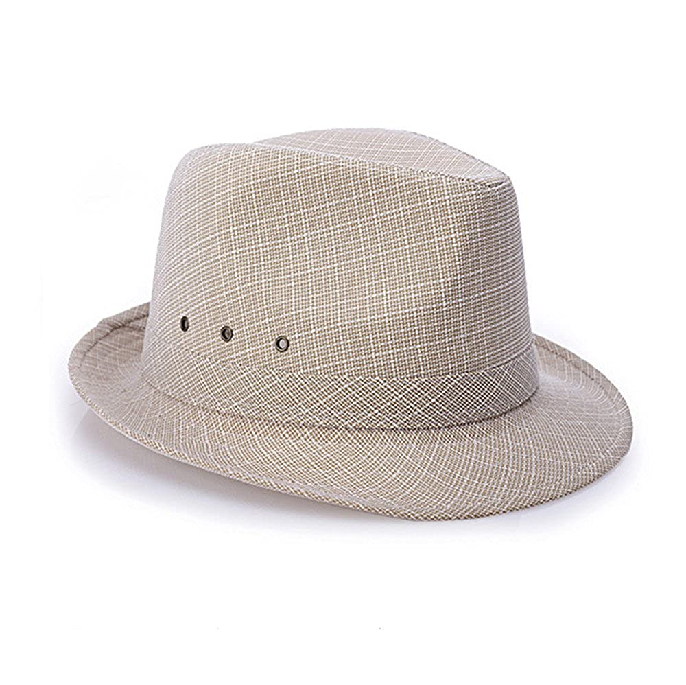Trilby Hat Top Hat Flax Adults Men Metal eyelet Beach Spring Summer doublebulls